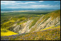Soda Lake and Carrizo Plain from Temblor Range hills. Carrizo Plain National Monument, California, USA ( color)