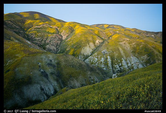 Temblor Range hills in the spring, dusk. Carrizo Plain National Monument, California, USA (color)