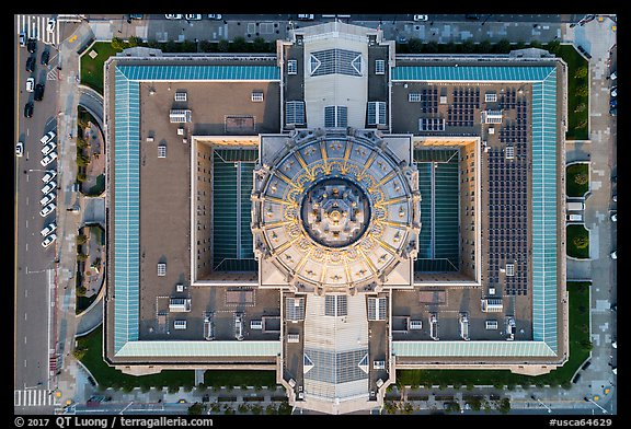 Aerial view of City Hall looking down. San Francisco, California, USA (color)