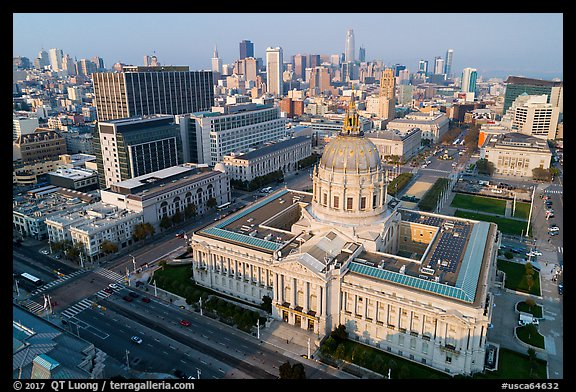 Aerial view of Civic Center with skyline. San Francisco, California, USA (color)