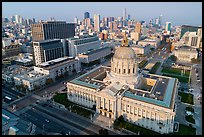 Aerial view of Civic Center with skyline. San Francisco, California, USA ( color)