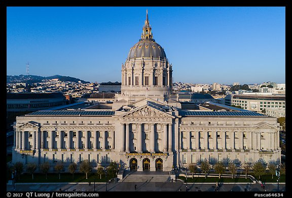Aerial view of City Hall. San Francisco, California, USA (color)