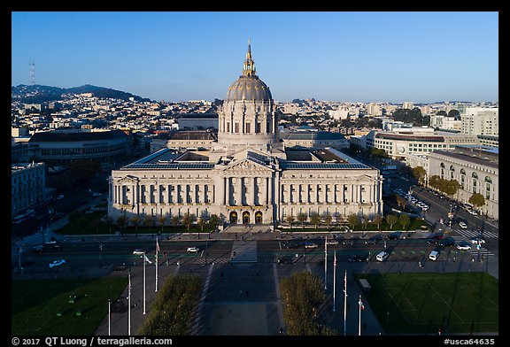 Aerial view of Civic Center Plaza and City Hall. San Francisco, California, USA (color)