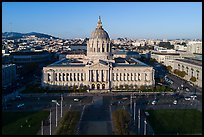Aerial view of Civic Center Plaza and City Hall. San Francisco, California, USA ( color)