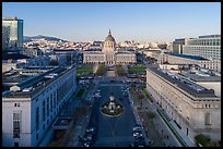 Aerial view of San Francisco Public Library, Asian Museum, and Civic Center. San Francisco, California, USA ( color)