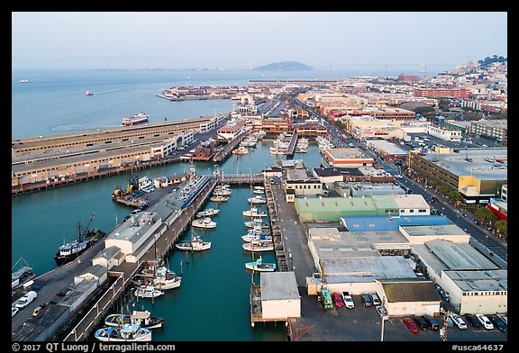 Aerial view of Fishermans Wharf fishering harbor. San Francisco, California, USA (color)