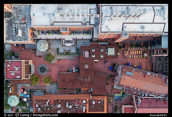 Aerial view of Ghirardelli Square courtyard looking down. San Francisco, California, USA (color)