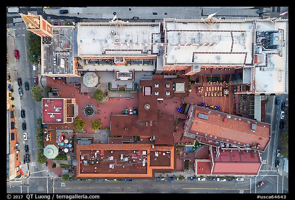 Aerial view of Ghirardelli looking down. San Francisco, California, USA (color)