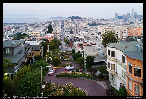 Aerial view of Lombard Street, Coit Tower, and Transamerica Pyramid. San Francisco, California, USA (color)