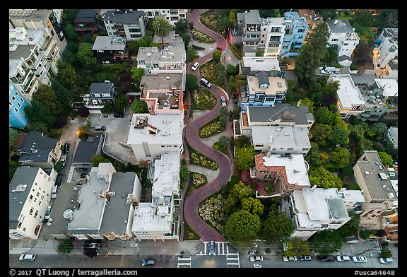 Aerial view of Lombard Street looking down. San Francisco, California, USA (color)