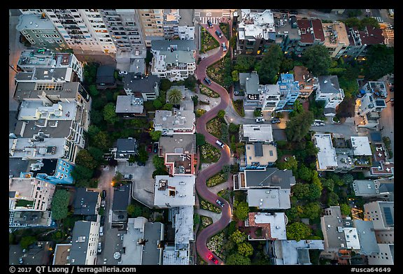 Aerial view of Lombard Street twists looking down. San Francisco, California, USA (color)
