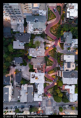 Aerial view of Lombard Street at dusk looking down. San Francisco, California, USA (color)