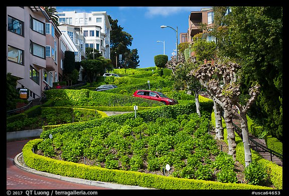 Crooked portion of Lombard Street. San Francisco, California, USA (color)