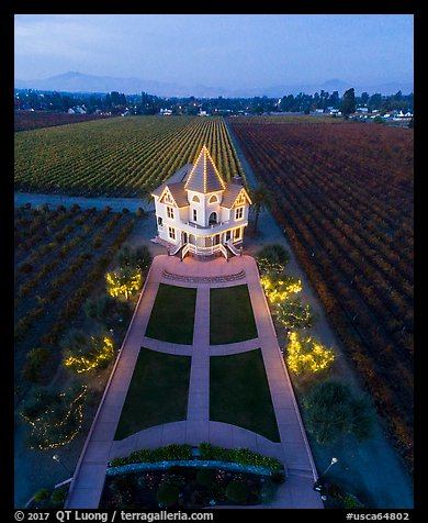 Aerial view of illuminated Concannon winery at dusk. Livermore, California, USA (color)