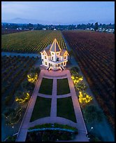 Aerial view of illuminated Concannon winery at dusk. Livermore, California, USA ( color)