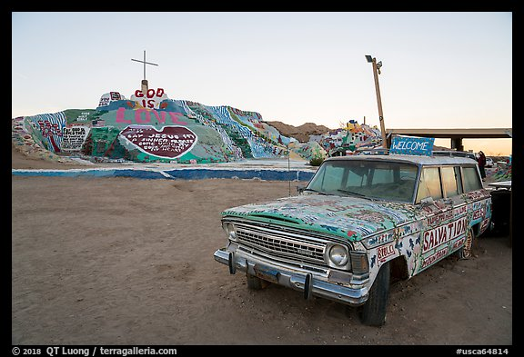 Painted car and Salvation Mountain. Nyland, California, USA (color)