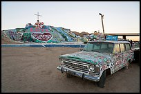 Painted car and Salvation Mountain. Nyland, California, USA ( color)