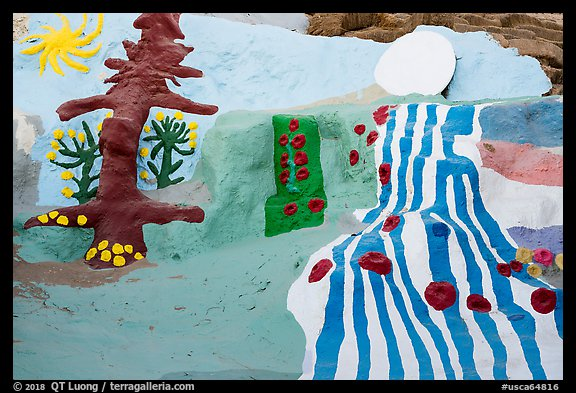 Salvation mountain detail. Nyland, California, USA (color)