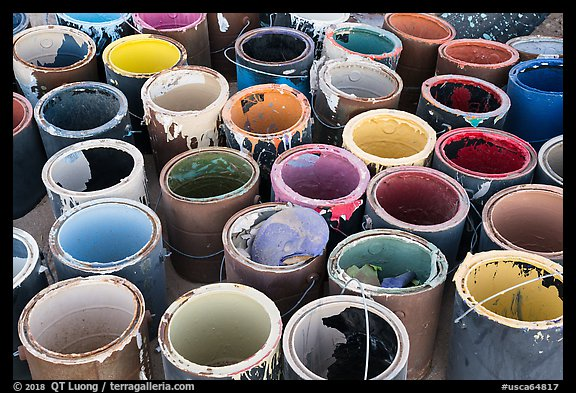 Pots of paint used on Salvation Mountain. Nyland, California, USA (color)