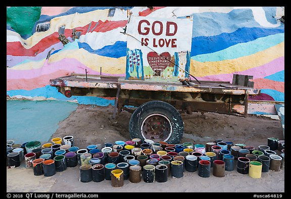 Paint and God is Love sign, Salvation Mountain. Nyland, California, USA (color)