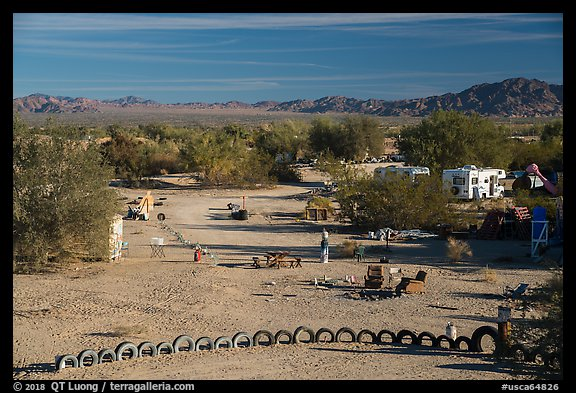 Art installations and dwellings, Slab City. Nyland, California, USA (color)