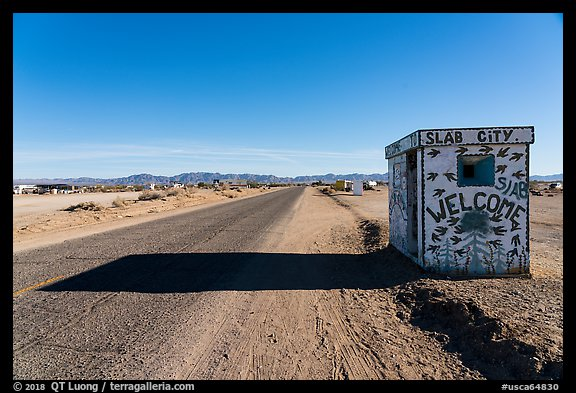 Road leading to Slab City. Nyland, California, USA (color)