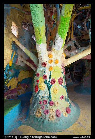 Artificial tree inside Salvation Mountain. Nyland, California, USA (color)