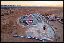 Aerial view of Salvation Mountain at sunrise. Nyland, California, USA ( color)