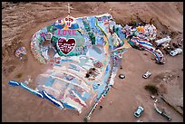 Aerial view of Salvation Mountain at dawn. Nyland, California, USA ( color)