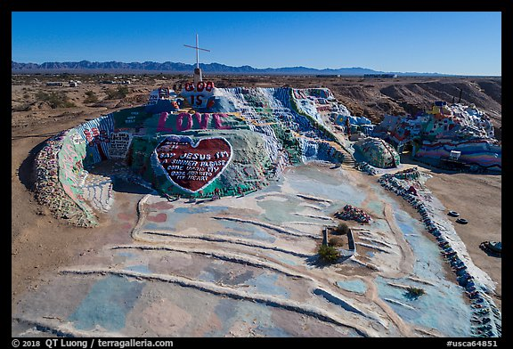 Aerial view of Salvation Mountain. Nyland, California, USA (color)