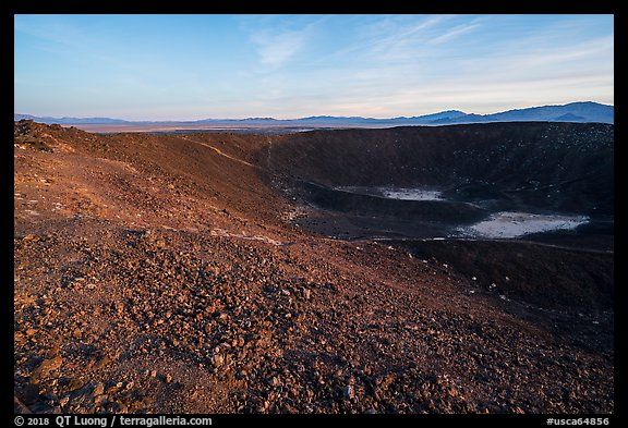 Inside Amboy Crater at sunset. Mojave Trails National Monument, California, USA (color)