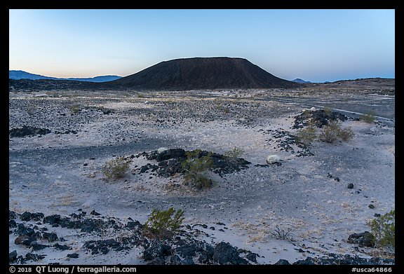 Amboy Crater at dawn. Mojave Trails National Monument, California, USA (color)