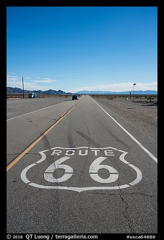 Route 66 marking, Amboy. California, USA (color)