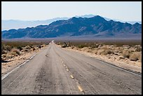 Road and mountains. Mojave Trails National Monument, California, USA ( color)