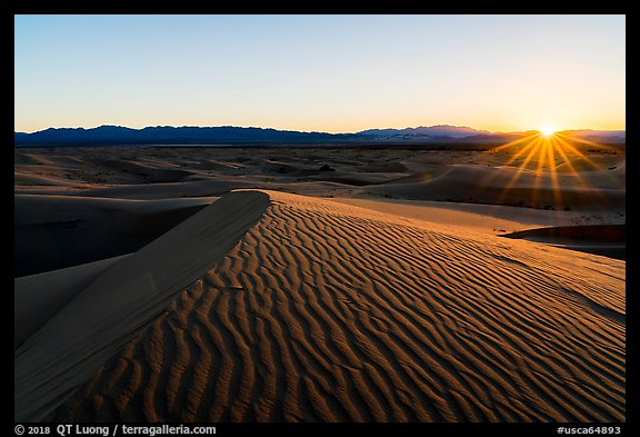 Sun setting over Cadiz Sand Dunes. Mojave Trails National Monument, California, USA (color)
