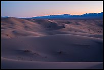 Dune ridges and Shiphole Mountains at dusk, Cadiz Dunes. Mojave Trails National Monument, California, USA ( color)