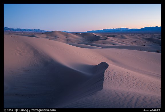 Cadiz Wilderness Sand Dunes and Shiphole Mountains at dusk. Mojave Trails National Monument, California, USA (color)