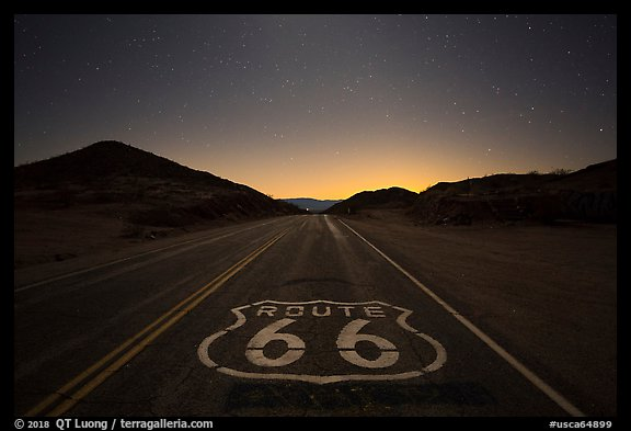Historic Route 66 marker at night. Mojave Trails National Monument, California, USA (color)