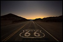 Historic Route 66 marker at night. Mojave Trails National Monument, California, USA ( color)