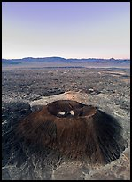 Aerial view of Amboy Crater and Bullion Mountains at dawn. Mojave Trails National Monument, California, USA ( color)