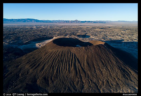 Aerial view of Amboy Crater cinder cone. Mojave Trails National Monument, California, USA (color)