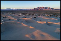 Aerial view of Cadiz dunes and mountain at sunset. Mojave Trails National Monument, California, USA ( color)