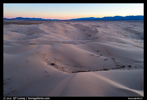 Aerial view of Cadiz Dunes Wilderness at dusk. Mojave Trails National Monument, California, USA (color)
