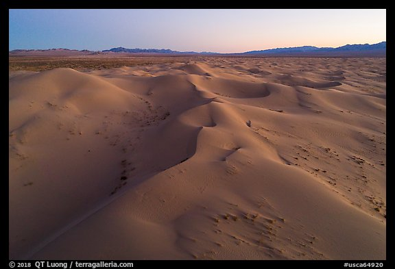 Aerial view of pristine Cadiz dunes at dusk. Mojave Trails National Monument, California, USA (color)