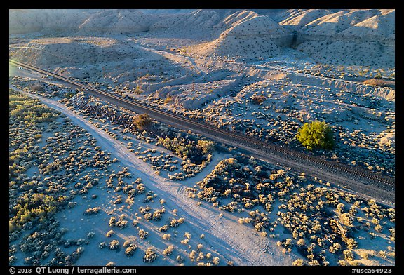 Aerial view of road and railroad tracks, Afton Canyon. Mojave Trails National Monument, California, USA (color)