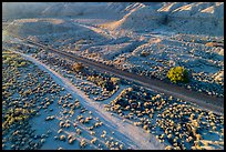 Aerial view of road and railroad tracks, Afton Canyon. Mojave Trails National Monument, California, USA ( color)