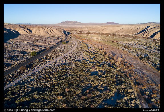 Aerial view of After Canyon with road and railroad. Mojave Trails National Monument, California, USA (color)