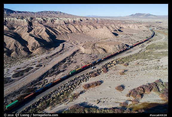 Aerial view of train in Afton Canyon. Mojave Trails National Monument, California, USA (color)