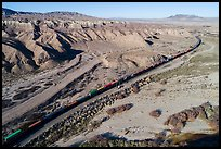Aerial view of train in Afton Canyon. Mojave Trails National Monument, California, USA ( color)