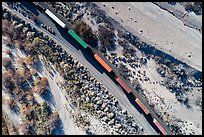 Aerial view of train looking down. Mojave Trails National Monument, California, USA ( color)